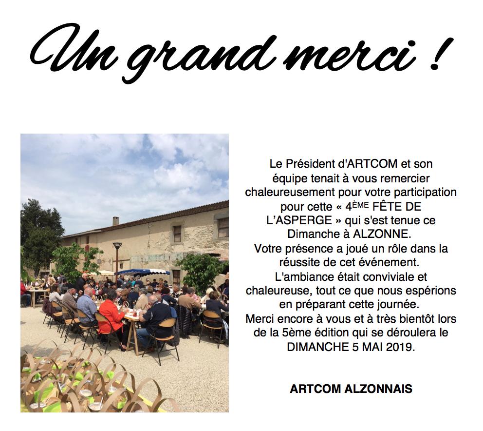 remerciement association ARTCOM Alzonnais